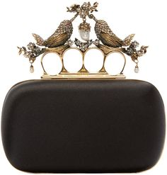 2400 Alexander McQueen Black Silk Birds Knucklebox Clutch