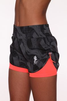 Side Drawstring Brush Stroke Print Sport Shorts :: Blockout Clothing - womens fashion, sporting, gym, dresses, skirts and much more…!!! SO cute