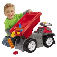 Realistic fire truck lights and sounds created by controls clearly featured on steering wheel.11 safe and sturdy pieces. Easy-to-tip bucket that doubles as a push-behind walker! #boytoys #kidstoys #truck #firetruck #children #learning $54.57 http://www.thinkfasttoys.com/Mega-Bloks-Fire-Truck-Ride-On/dp/B003XT6OIM