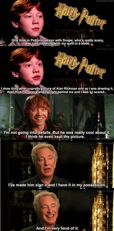 Rupert Grint and Alan Rickman . Ron Weasley and Professor Snape in Harry Potter Memes Do Harry Potter, Mundo Harry Potter, Harry Potter Films, Harry Potter Fandom, Potter Facts, Harry Potter Interviews, Sassy Harry Potter, Harry Potter Stuff, Harry Potter Jokes