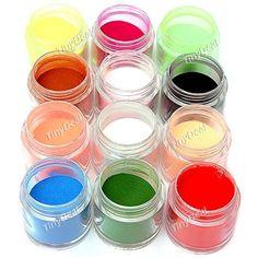 12-color Acrylic Nail Art Powder Nail Decoration for Nail Art - Color Assorted BBI-349906