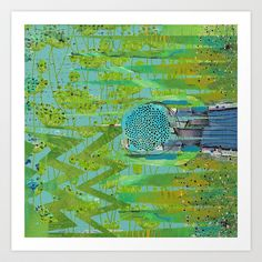 Green Turquoise Jagged Abstract Art Collage Art Print by Sheree Joy Burlington - $18.00