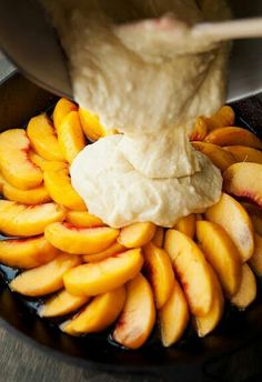 Peach upside down cake.  Double the butter/brown sugar, add 1 tsp. each vanilla & almond extracts. Allow to carmelize.