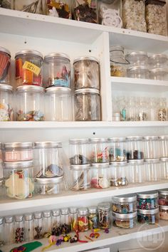 A reason for all my jars :) Craft Room inspiration. indeed, it looks much cleaner than a bunch of boxes. plus, no riffling through said boxes required: you can see exactly what you want. :) This is what my office craft room will be like!