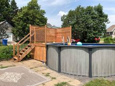 Above Ground Pool Landscaping, Above Ground Pool Decks, Backyard Pool Landscaping, In Ground Pools, Deck Patio, Pool Deck Plans, Patio Plans, Intex Pool, My Pool