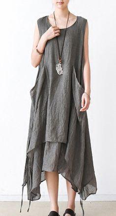 Gray asymmetrical cotton dresses summer maxi dresses sleeveless