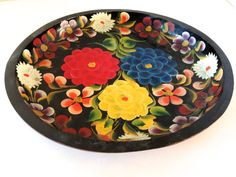 :D❤️Vintage Folk art Hand-Painted Mexican Shallow Bowl by LemonlyPink