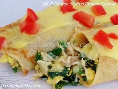 IHOP Garden Stuffed Crepes Copycat - I have become totally obsessed with this dish from IHOP. The bad thing is, there are over 1000 calories in the dish from IHOP. Of course the hollandaise sauce is what makes the dish delicious, so I couldn't very well omit that. I did, however substitute the eggs with a healthy egg substitute. These garden stuffed crepes are delicious, try at your own risk of becoming addicted.