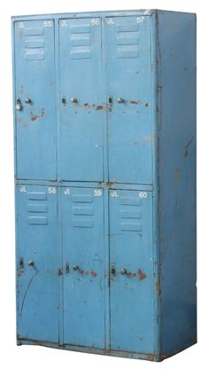 These blue vintage lockers from Scaramanga have a distressed finish showing their history. They will help to give a raw urban edge to any warehouse home, or industrial loft living space. The perfect industrial style storage solution. Shoe Storage Drawers, Linen Storage Cabinet, Food Storage Cabinet, Ikea Storage, Storage Ideas, Construction Paper Storage, Wrapping Paper Storage, Mobile Craft, Vintage Lockers