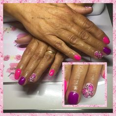 Neon pink & purple gel polish with hand painted butterflies