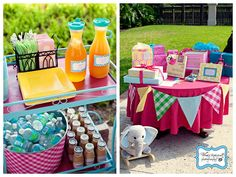 Love the pennant banner around the gift table!