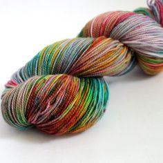 Hand Dyed Sock Yarn  Superwash Merino Nylon  400 by SpunRightRound, $24.00