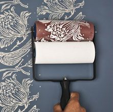 Gorgeous idea!!  Use a specialized roller to create designer wallpaper with paint!