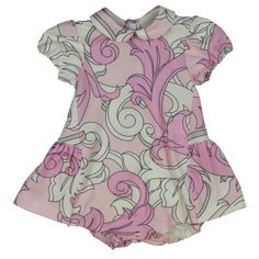 d9f91b6bb17f Young Versace Baby Girls Pink Baroque Pattern Dress with Bloomers and Peter  Pan Collar Versace Kids