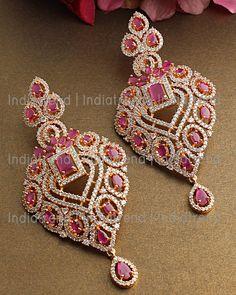 Real Diamond Earrings, Fancy Earrings, Jewelry Design Earrings, Rose Gold Earrings, Bridal Earrings, Peacock Earrings, Necklace Designs, Fancy Jewellery, Gold Jewellery Design