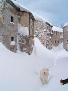 Little friends in the snow. Roccacaramanico, ancient borgo | Abruzzo, Italy