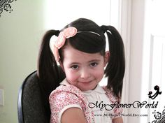 Peach Flower Headband.Little Girl Flower by MyFlowerWorld on Etsy