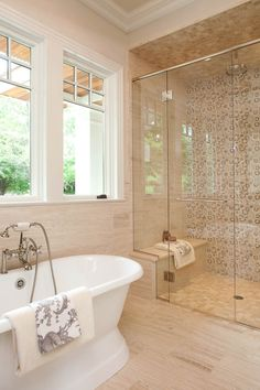 360 North Arm Lane, Orono, MN 55364 | Artisan Home Tour.  Gorgeous and funky shower with mosaic tile in sand tones