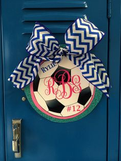 Sports LOCKER name tag with Monogram for Soccer, basketball, volleyball, etc. going to use this as my classroom locker decorations; i will have to find something other than ribbon for my boys Volleyball Locker Decorations, Locker Room Decorations, Volleyball Gifts, Volleyball Room, Volleyball Quotes, Locker Name Tags, Locker Signs, Door Signs, Soccer Locker