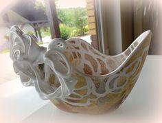 LACEFORMIS sculptured and handpainted ceramic vase
