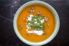 Chipotle Pumpkin Soup Recipe Soups with olive oil, yellow onion, garlic cloves, ground cumin, chipotle peppers, cooked pumpkin, chicken stock, dried oregano, salt, lime juice, pumpkin seeds, cilantro, crème fraîche, fresca