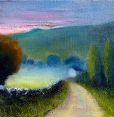 Irish Landscape  Irish Landscape painting  Irish Art       I like the soft, atmospheric effect and the color scheme, with a pop of red and yellow, with blues, green, and yellow. Again, not a fan of the purple. Do appreciate the steel-grey stone.