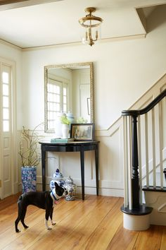 Macen, Debbie's adorable Boston Terrier, guards the front door—as well as a curated collection of ginger jars and framed family photos.