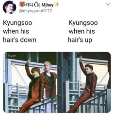 I was just thinking about Lay in the background. Like, when Kyungsoo's hair is down Lay is there but when it's up Lay's not there… I'm thinking tooooo deep into this… Exo Ot12, Kaisoo, Chanbaek, Kyungsoo, Chanyeol, Exo Memes, Funny Memes, Drama Funny, Xiuchen