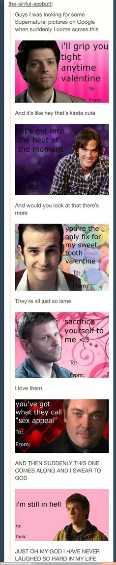 Supernatural Valentine's Day Cards. So perfect!!!