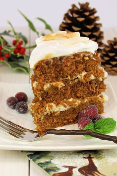 Gingerbread Layer Cake with Bourbon Pecans & Caramel Sauce by WickedGoodKitchen.com ~ Moist and flavorful, everything you would expect in tr...