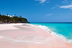Pink Sand Beach located in The Bahamas  Of course the Bahamas would have pink sand! The pink sand found at this beach is formed by loose chunks of coral broken down in the ocean and then washed ashore by the waves.