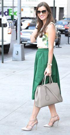 bishop & holland - printed crop top, green midi skirt