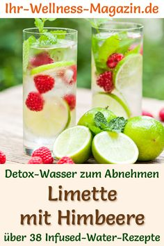 Lime and Raspberry Water - Recipe for Infused Water - Detox Water - Detox water – recipe for lime-raspberry water: Infused water helps you lose weight, is healthy, h - Infused Water Detox, Infused Water Recipes, Healthy Eating Tips, Healthy Nutrition, Detox Recipes, Smoothie Recipes, Digestive Detox, Lemon Diet, Detox Drinks