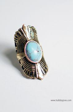 """Boho """"Turquoise"""" Stone Ring / Antique Gold #hollidayjune $18.00"""