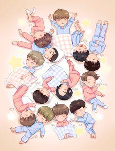 Guess the kpop group (fanart ver. Woozi, Jeonghan, Vernon, K Pop, Happy 4th Anniversary, Hip Hop, Seventeen Wonwoo, Seventeen Wallpapers, Kpop Fanart