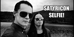 """Satyr (singer) and Frost (drummer) from Norwegian black metal band Satyricon.  Promo shot from their """"Age of Nero"""" PR."""