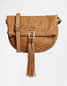 Image 1 of River Island Whipstitch Tassle Cross Body Bag