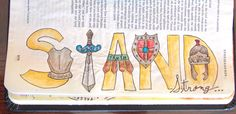 Eek! This is some of my favorite word art that I have ever done. I have seen a lot of armor of God bible art journaling entries on pinterest and they were either far beyond my skill level serious …