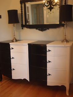 Refurbished furniture the whole look the lamps the mirror the dresser.