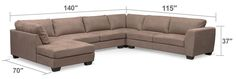 Modern-Day Appeal. Casual yet full of flair, the Santana sectional will elevate the style of your living space. Offering plenty of room with its oversized pocketed coil seat cushions, it features luxurious, breathable taupe, suede fabric with detailed contrast stitching. Wedge feet, deep seating and cozy cushions make the Santana a must-have for any casual contemporary or modern décor. Four-piece sectional includes left-facing chaise, armless sofa, corner and right-facing sofa, as shown.