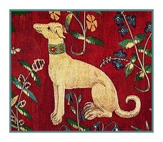 Medieval Whippet Dog Detail from Lady and the Unicorn Tapestries Co. Medieval Tapestry, Medieval Art, Needlepoint Patterns, Counted Cross Stitch Patterns, Greyhound Kunst, Unicorn Tapestries, Whippet Dog, Art Sculpture, Medieval Manuscript