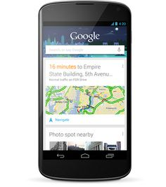 Nexus 4 comes with the latest version of Google Now to bring you just the right information at just the right time. It shows you how much traffic to expect before you leave for work, or when the next train will arrive as you're standing on the platform