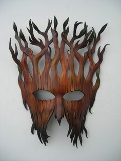 Woodland entity mask:Leather mask original handcrafted Halloween Mardi gras masquerade Pagan Samhain burning man Steampunk mask Plus Steampunk Mask, Cool Masks, Leather Mask, Leather Cord, Masks Art, Green Man, Mask Making, Art Plastique, Samhain