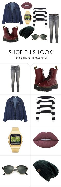 """""""Denim and Platforms"""" by robynrstarkey ❤ liked on Polyvore featuring Current/Elliott, Dr. Martens, Boutique Moschino, Timex, Lime Crime, Ray-Ban, Salvatore Ferragamo and plus size clothing"""