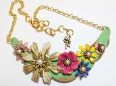 One of a kind! Designer Flower bib necklace, vintage style florals on a pistachio green collar- multi colored enameled and distressed. #giadele.