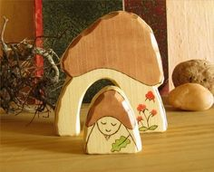 GNOME HOME - mushroom house with gnome- wooden carved toy - waldorf inspired