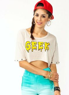 Audrey Women's Graphic Studded Geek Tee