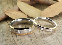 His and Her Couple, Two Tone Gold & White Gold, Matt, Diamonds Wedding Titanium Rings Set