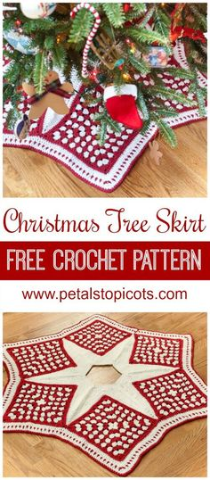 Christmas Tree Skirt – Free Crochet Pattern Add some handmade charm to your Christmas decor with this beautiful skirt for your Christmas tree … Free crochet pattern! Christmas Tree Skirts Patterns, Christmas Skirt, Crochet Christmas Decorations, Crochet Christmas Ornaments, Christmas Crochet Patterns, Holiday Crochet, Christmas Knitting, Christmas Crafts, Crochet Snowflakes