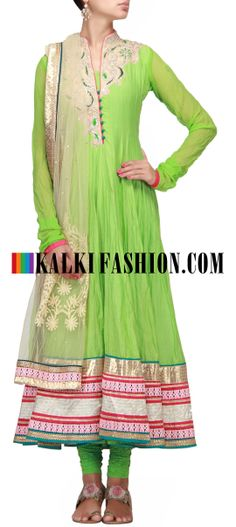 Buy Online from the link below. We ship worldwide (Free Shipping over US$100) http://www.kalkifashion.com/green-anarkali-suit-with-highlighted-neckline.html Green anarkali suit with highlighted neckline